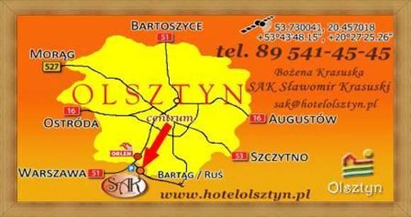 Dojazd SAK Hotel Olsztyn Noclegi pokoje.