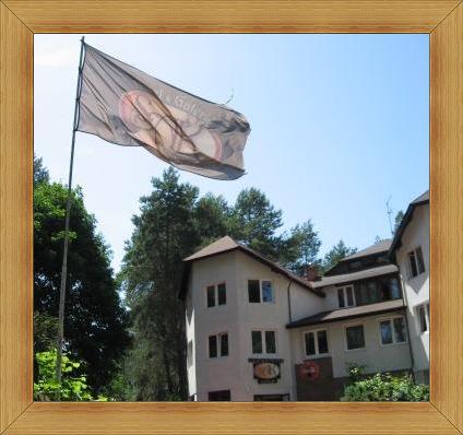 SAK Olsztyn Hotel flaga z logo